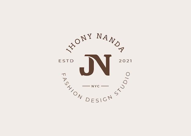 초기 jn 편지 로고 디자인 서식 파일, 빈티지 스타일, 벡터 일러스트