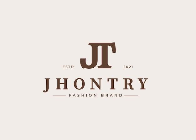 最初のjt文字ロゴデザインテンプレート、ベクトルイラスト