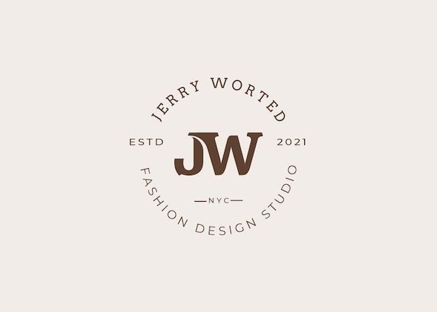 초기 jw 편지 로고 디자인 서식 파일, 빈티지 스타일, 벡터 일러스트