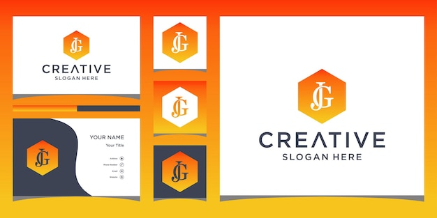 Initial jg logo with business card template