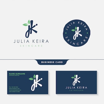 Initial jk signature logo design template