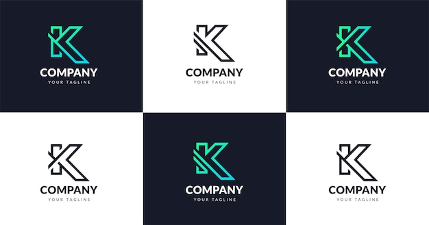 초기 k 문자 로고 디자인 템플릿, 라인 개념