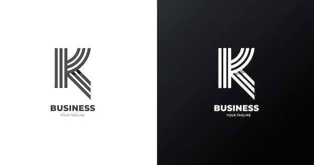 最初のk文字のロゴデザインテンプレート、ラインコンセプト