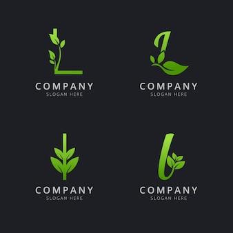 Начальный логотип l с элементами листа зеленого цвета