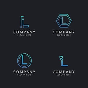 Initial l logo with technology elements in blue color