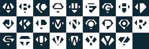 이니셜 a부터 z까지 다이아몬드 컷 아웃 로고 컬렉션