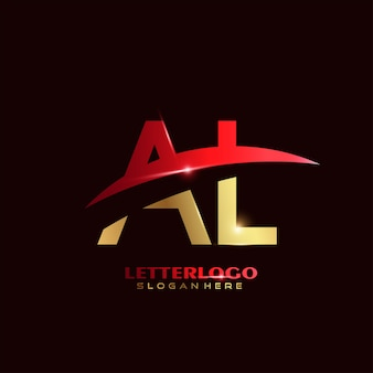 会社とビジネスのロゴのスウッシュデザインの頭文字alロゴタイプ。
