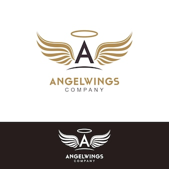 Initial letter a and angel wings logo design inspiration