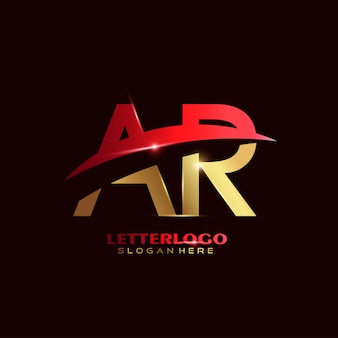 Initial letter ar logotype comwith swoosh design for company and business logo.