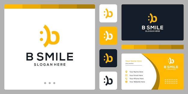 이니셜 b와 스마일 로고. 명함 디자인입니다.