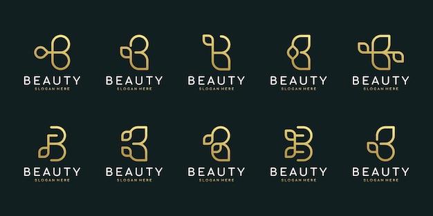 抽象的な葉の要素を持つ最初の文字b。ミニマリストのラインアートのモノグラム形状のロゴ。