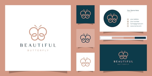Initial letter bb with abstract butterfly elements. minimalistic line art monogram shape logo,