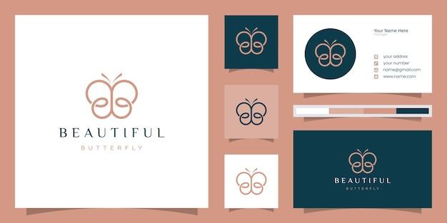 抽象的な蝶の要素を持つ頭文字bb。ミニマルなラインアートのモノグラム形状のロゴ、