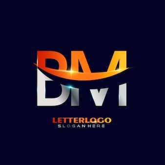 会社とビジネスのロゴのスウッシュなデザインの頭文字bmロゴタイプ。