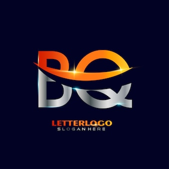 Initial letter bq logotype  with swoosh design for company and business logo.
