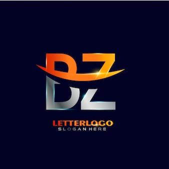 会社とビジネスのロゴのスウッシュなデザインの頭文字bzロゴタイプ。