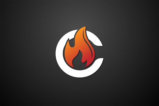 Initial letter c for candle flame fire logo design vector