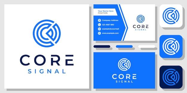 テンプレート名刺で頭文字c信号技術接続ロゴデザインのインスピレーション