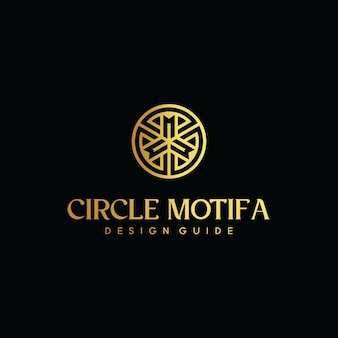 Initial letter cm logo with circle gold vector template