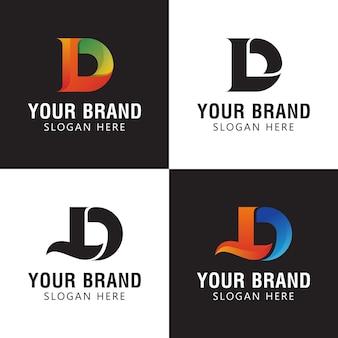 コーポレートアイデンティティのロゴの頭文字d、ldまたはdlモノグラムカラフルなデザイン
