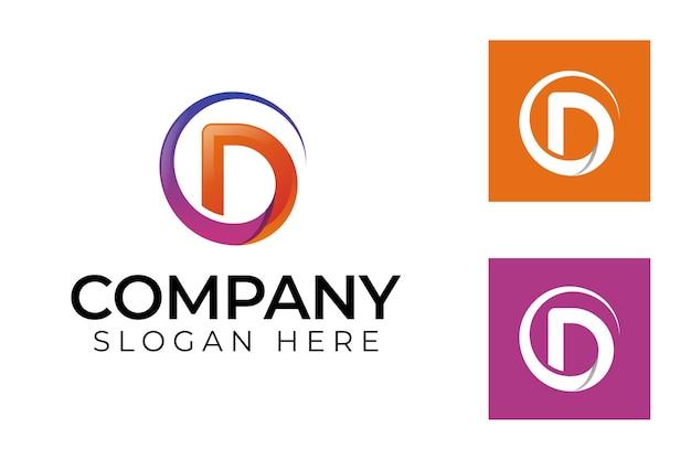 현대적인 id 로고 템플릿에 대한 원형 모양의 초기 문자 d