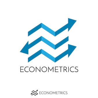 Initial letter e and business arrow graph logo. finance blue arrow wave concept logo.