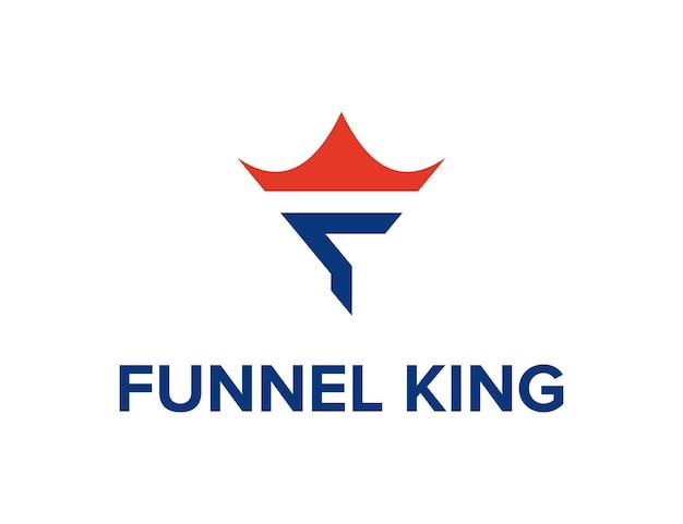 頭文字f漏斗とクラウンキングシンプルな洗練された創造的な幾何学的なモダンなロゴデザイン