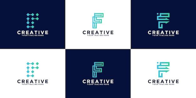 기술 및 비즈니스를 위한 초기 문자 f 로고 디자인 영감 컬렉션