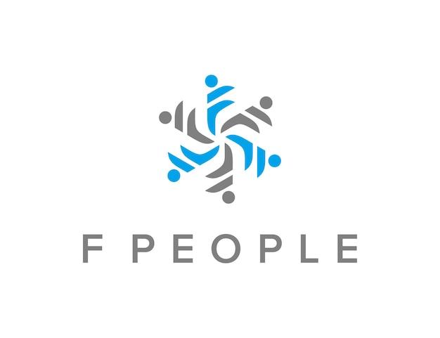 초기 문자 f 사람들 회전 단순하고 세련된 창조적 인 기하학적 현대 로고 디자인