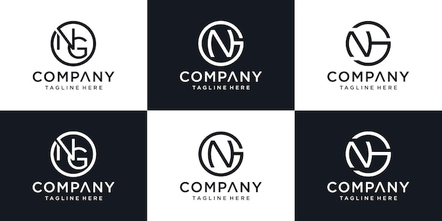Initial letter g n logo template