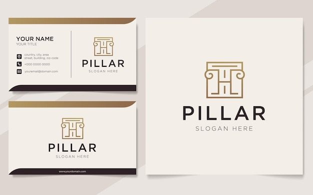 Initial letter h with pillar element logo and business card template
