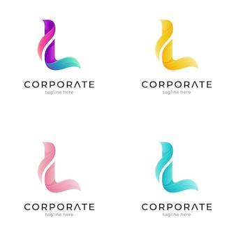 Буквица l логотип с цветовыми вариациями