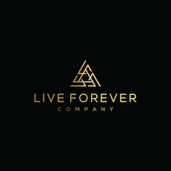 Initial letter lf logo with triangle gold