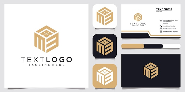 Initial letter m 3 logo design template logotype concept idea and business card