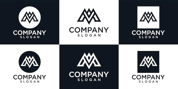 頭文字m。創造的な文字マークのロゴデザインシンボル