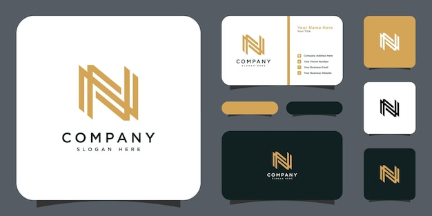 Initial letter n logo design with business card