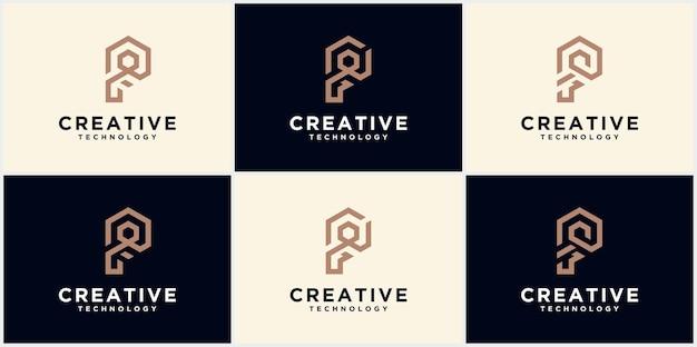 Initial letter p, minimalist art logo, gold color on black background vector graphics of creative line alphabet symbol, letter p