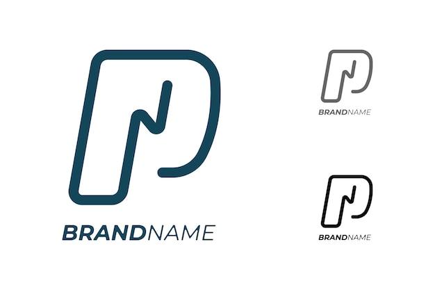 기술 비즈니스 id 로고 타입 개념을 위한 전기 번개가 있는 초기 문자 p