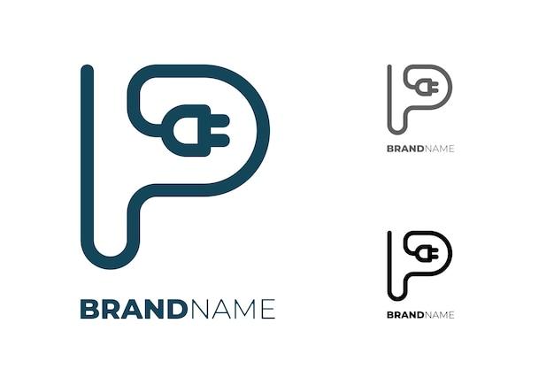 Буквица p с электрической вилкой для технологии бизнес-идентичности логотип концепт электромобиля