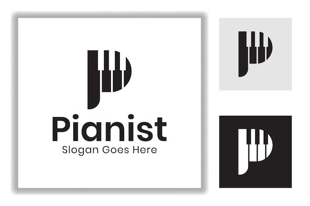 Initial letter p with play music piano symbol design for piano player pianist logo template