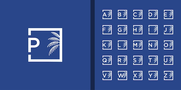 Initial letter and palm tree logo set