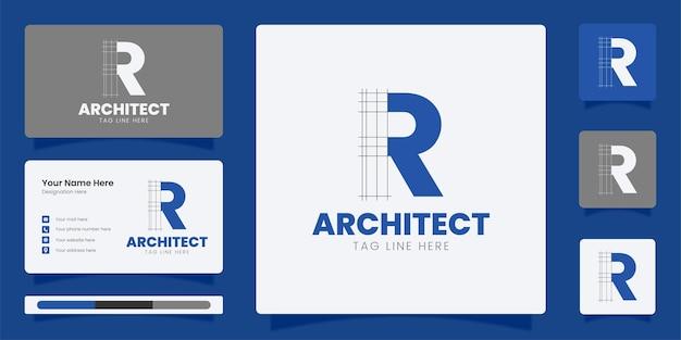 頭文字rロゴデザインラインアートロゴ付き建築家モノグラム