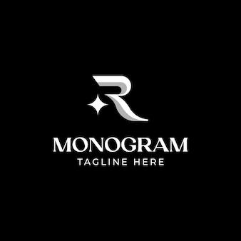 초기 편지 r 모노그램 로고 템플릿