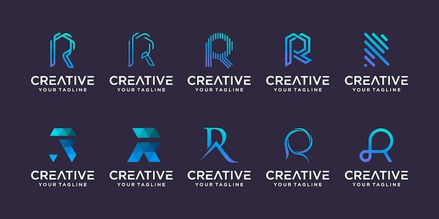Initial letter r rr logo icon set design for business of fashion sport automotive technology