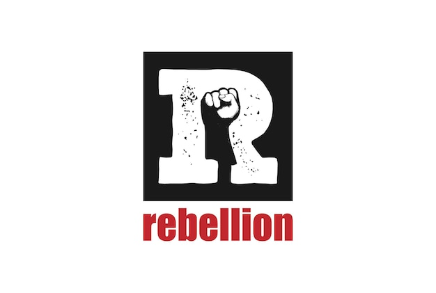 Initial letter r with hand fist clenched for rebel rebellion logo design vector