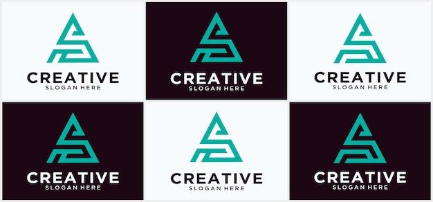 Шаблон логотипа буквица s с иллюстрацией искусства линии треугольника в плоском дизайне символа монограммы современный логотип s треугольника геометрической формы