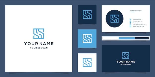 초기 문자 s sh 로고 및 명함 템플릿