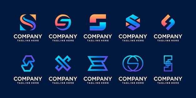 패션 디지털 기술 등의 비즈니스를 위한 초기 문자 s ss 로고 아이콘 세트 디자인