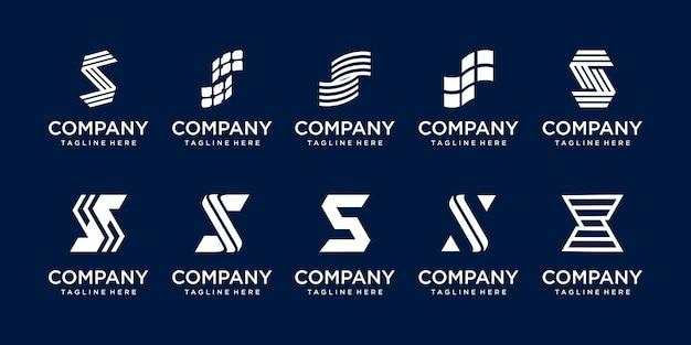 패션 디지털 기술 비즈니스를 위한 초기 문자 s ss 로고 아이콘 세트 디자인