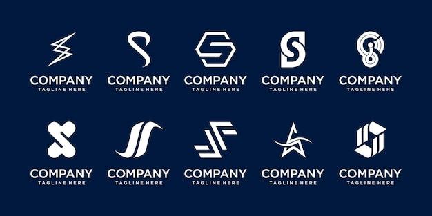 패션 스포츠 자동차 사업을 위한 초기 문자 s ss 로고 아이콘 세트 디자인